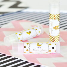 24 Personalized Metallic Foil Lip Balm Baby Shower Party Favors