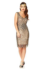 Edith 20s Vintage Inspired Flapper Bridesmaids Dress in Nude Black Plus Size