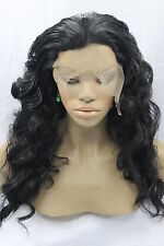 Womens Black Synthetic Lace Front Wig Curly Wavy Synthetic Lace Wig+Free Wig Cap