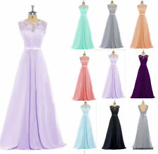 Lace Long Simple Formal Evening Dresses Chiffon Party Ball Prom Gowns Bridesmaid