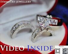His&Hers Fine jewellely Wedding engagement Ring Set St Silver F.925 Rome16J*
