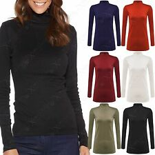 NEW LADIES LONG SLEEVE POLO ROLL NECK TOP WOMENS TURTLE LOOK PLAIN JERSEY JUMPER