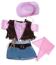 "Cowgirl Outfit 5 piece set inc pink hat teddy clothes to fit 15"" build a plush"