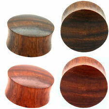 2 PAIR-CONVEX SONO PLUGS & CONVEX RED TIGER WOOD PLUGS -Ear Plugs-Ear Gauges