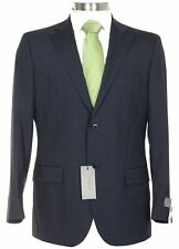 Lubiam Studio Slim Fit Navy Blue Pinstriped Two Button Wool Suit Made In Italy