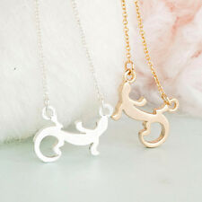 Silver Gold Plated Lizard Gecko Necklace Small Pendant Chain in Gift Bag/Box
