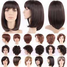 Short Curly Brown Full Wigs Synthetic Hair Costume Wig With Bangs Ombre Two Tone