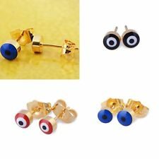 Cute Evil Eye Womens Mens Blue Red Black small Stud Earrings Gold Filled earings