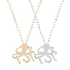 Silver Gold Plated Octopus Necklace Small Sealife Pendant Chain in Gift Bag/Box