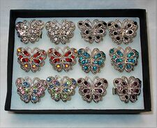 New Rhinestone Crystal Butterfly Large Silver Fashion Ring 6 Colors To Pick From