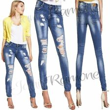 New Womens Ladies Extreme Frayed Ripped Skinny Denim Jeans Faded Slim Fit Pants