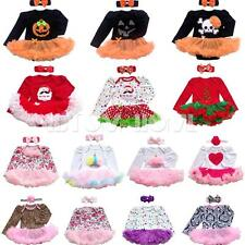 Baby Girl 2PCS Long Sleeve Romper Tutu Dress Halloween Xmas Costume Outfit 0-12M