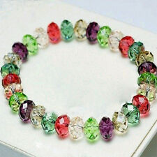 Women Fashion Crystal Faceted Loose beads Bracelet Stretch Bangle Top