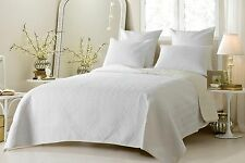 Luxury Reversible White & Ivory Coverlet Set with Shams AND Euro Shams