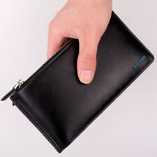 Men's Long Faux Leather ID Credit Card Iphone Holder Clutch Bifold Purse Wallet