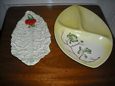 2 Vintages Retro Carlton Ware Yellow 3 Section Large Dish and Lettuce Leaf Dish
