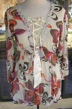 Gorgeous Balloon Hem Corset Style Front PRETTY ANGEL Tunic Blouse Sz. M,L,XL