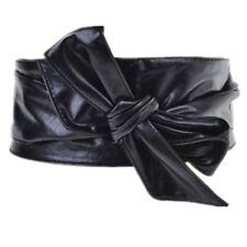 Women PU Leather Soft Self Tie Bowknot Band Wrap Around Sash Obi Belt