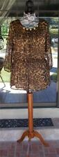 Pretty Angel Leopard Print Elastic Waist Lined Silk Blend Blouse Sz. S, M, L, XL