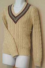 Polo Ralph Lauren Linen Cotton Ivory Cable Knit V Neck Cricket Sweater New NWT