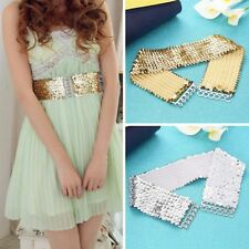 Women Lady  Casual Elastic Stretch Shinning Sequin Waist Waistband Belt PY