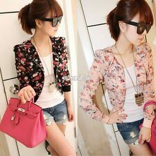 New Women Floral Jacket Zipper Long-sleeve Thin Coats Print Chiffon Outerwear S0