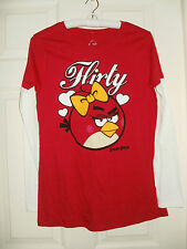 New Juniors Angry Birds Long Sleeve T-Shirt FLIRTY Small or Medium Red White