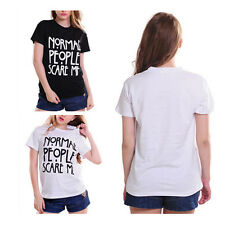 Shirt Cotton Tshirt Normal People Scare Me Print Women Funny Casual