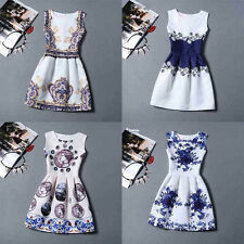 Floral New Summer Party Fashion Women Casual Mini Hot Cocktail Dress Sleeveless
