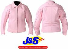 J&S FLAME LADIES MOTORBIKE MOTORCYCLE PINK CASUAL TOUR RACE RACING JACKET J&S