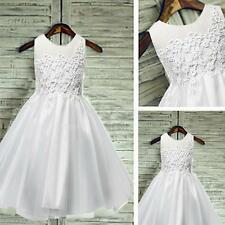 Flower Girl Lace Mesh Dress Kids Princess Wedding Birthday Formal Party White