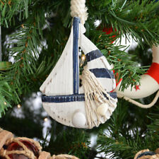 Handcrafted Nautical Decor Wooden Rustic Sailboat Model Christmas Tree Ornament