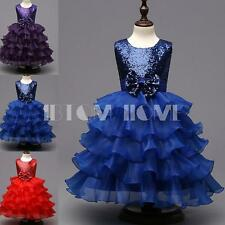 Sequined Bows Flower Girl Kid Dress Wedding Pageant Prom Ball Birthday Gown 2-6Y