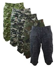 Mens 3/4 Long Shorts Trouser Cargo Army Camo Combat Pockets Shorts Cotton Summer