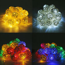 Room 20 Rattan Ball LED Light String Fairy Lamp Home Wedding Party Xmas Decor