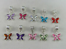 GLEAMING COLOUR CRYSTAL BUTTERFLY DANGLE CHARM FOR EUROPEAN STYLE CHARM BRACELET