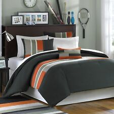 NEW Twin XL Full Queen King Bed Olive Green Orange Stripe 4 pc Comforter Set NWT