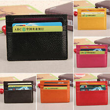 Men Womens Leather Slim Thin Bank ID Credit Card Holder Mini Wallet Pocket Case
