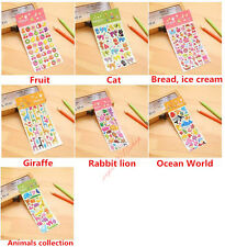 3D Fruit Animals Bread ice cream Scrapbook Kids Party Favors Crafts stickers lot