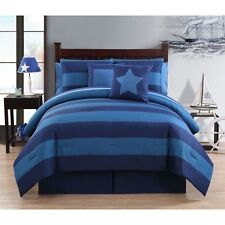 NEW Twin XL Full Queen Bed Bag Navy Blue Striped 10 pc Comforter Sheets Set Boys