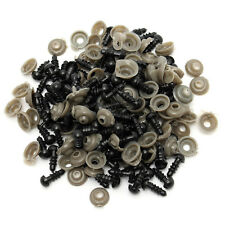 100 Pcs 6-14mm Black Plastic Safety Eyes for Teddy Bear Dolls Toy Animal Crafts