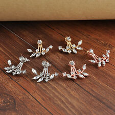 New Women Crystal Leaf Ear Jacket Earrings Gold Plated Back Cuff Stud Earring HQ