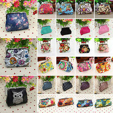 Vintage Womens Owl Flower Mini Wallet Key Card Holder Coin Pouch Clasp Purse Bag