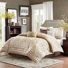 NEW Queen Cal King Bed 7pc Gold Brown Medallion Comforter Sheets Set Elegant NWT