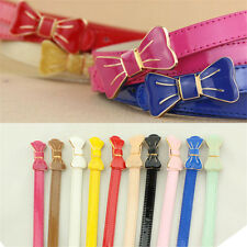Fashion Women Faux Leather Metal Bowknot Cinch Buckle Thin Skinny Waistband Belt