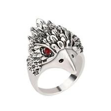 Jewelry Fashion Vintage Ring Silver Crystal Animal Eagle Head Shaped Mens Ring