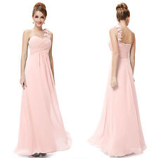 One Shoulder Flower Bridesmaid Evening Dress Long Party Formal Chiffon Gown W678