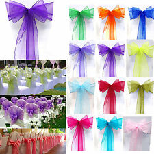 10/50/100PC Cute Organza Sashes Chair Cover Bow Sash Wedding Party Banquet Decor