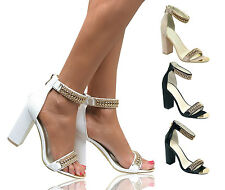 WOMENS LADIES GOLD ANKLE STRAP CUFF BLOCK HIGH HEEL PEEP TOE SANDALS COURT SHOES
