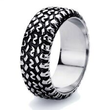 Men's 9mm Stainless Steel 316L Ring High Polish Oxidized Black Color Tire Band